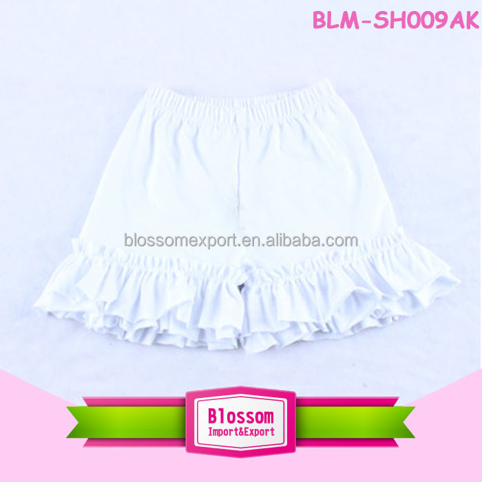 Kids clothing boutique 2018 baby ruffle shorts high quality white knit cotton solid shorts