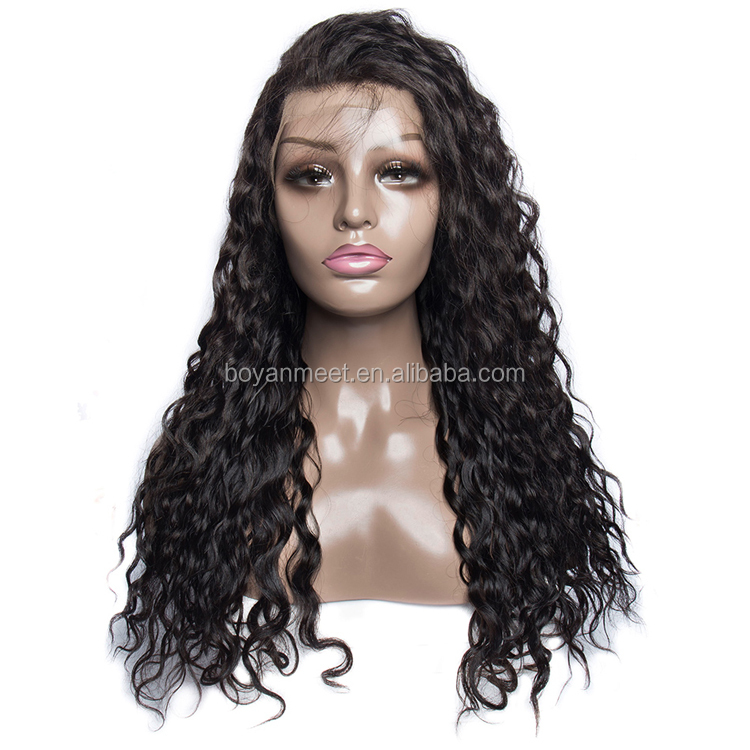 mongolian virgin human water wave hair  lace front wig