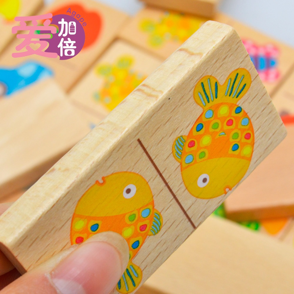 Baby Toys Wooden Blocks Baby 28pcs Animal Domino Toys Solitaire Domino Multicolor Educatinal Wooden Toys For