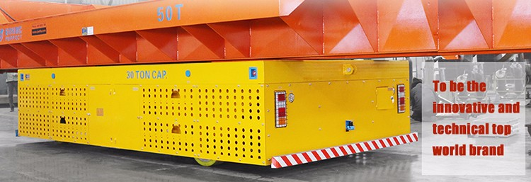 30T capacity battery trackless transfer cart for steel structure transport