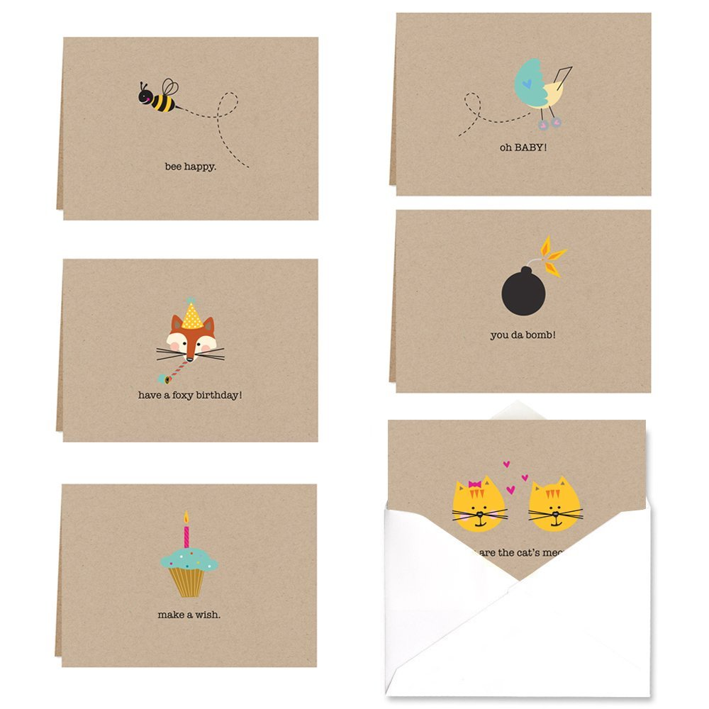 Myway Whimsical Note Card Assortment Pack - Set of 36 cards - 6 of each design with envelopes