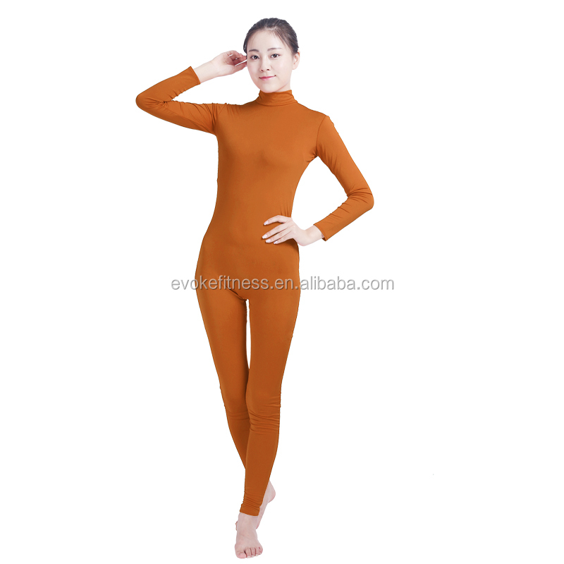 Coffee Boat Neck Adult Full Body Without Hand/Feet Ballet Unitard/Dance Costume/ Gymnastics Leotard/Cosplay Wear