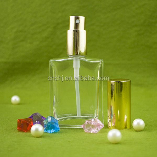 Hebei Chengjin 30ml square clear spray glass dropper bottle for perfume