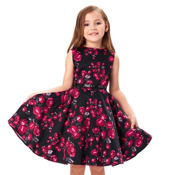 Kate Kasin Children Girls Sleeveless Round Neck Vintage Retro Cotton Floral  Pattern baby girl summer Dress 6589a72e05