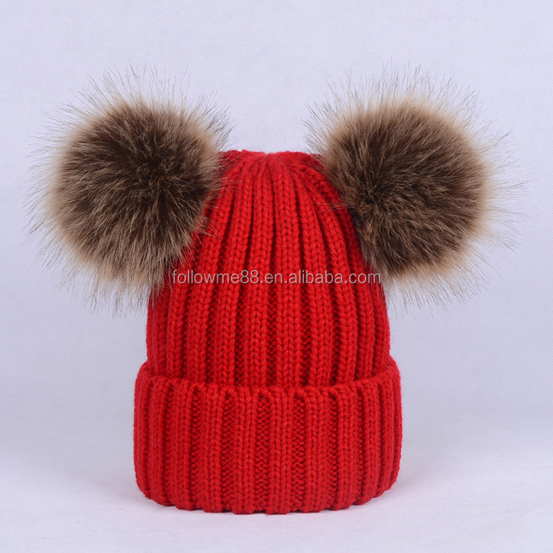 Wholesale Custom Winter Women Knitted Pattern Funny Pom Pom Beanie ...