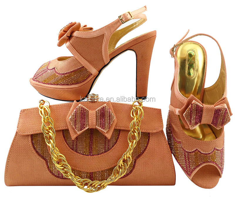 To Wedding Bag For Italy Material Italian Good Matching Set And Color With Peach Match Ladies Bag MM1038 Shoe Shoe wBnqXIx1a
