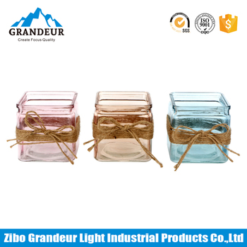 Wholesale Colored Glass Cube Vases With Rope Decoration Buy Glass