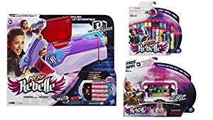 Nerf Rebelle Bundle of 3 toys:Nerf Rebelle Rapid Red Secrets & Spies motorized gun, Nerf Rebelle 24 dart refill pack with custom colored darts and Nerf Central App Rail Mount targeting system
