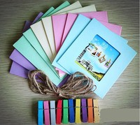 Colorful hanging mat photo frame with hemp rope