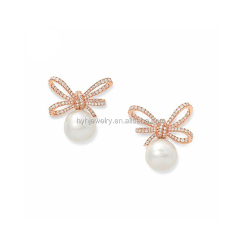 Fashion Rose Gold Pearl Earring 2017 Christmas Gift Zircon Studs Bow Earrings For S