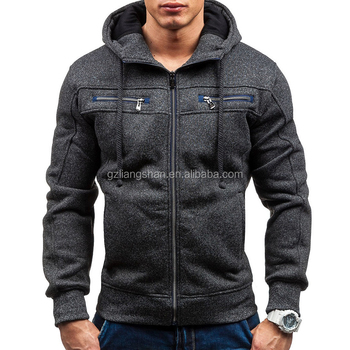 Groothandel Mens Capuchon Zip Up Hoody Jacket Sweatshirt Hooded Rits Top Jumper Vest