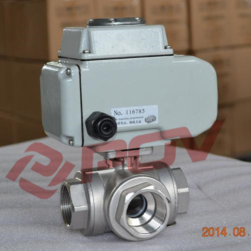 220v ac 60hz motorized thread 3 way full port ball valve