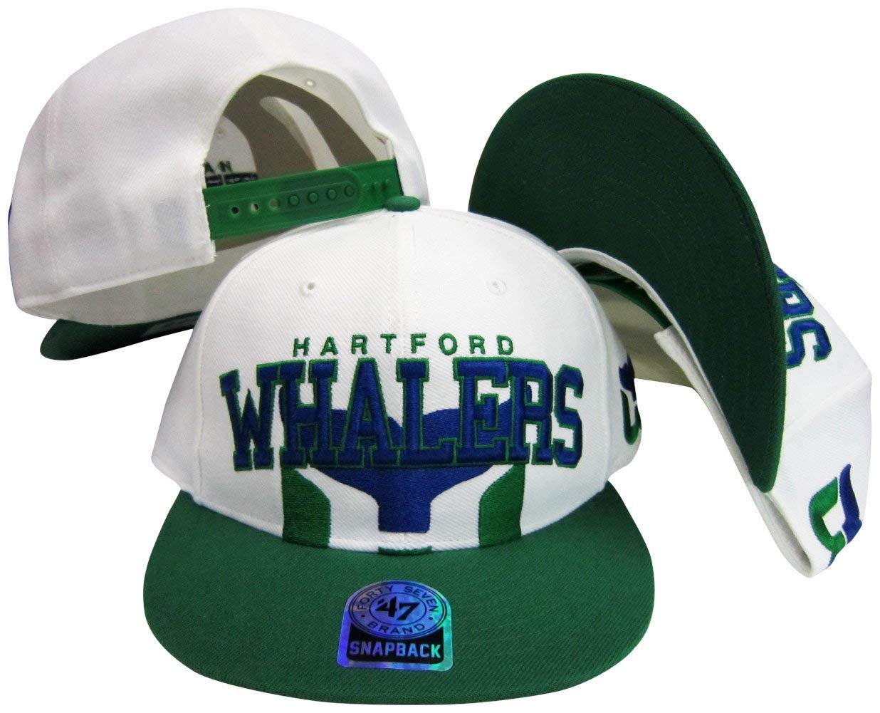 540ae172688dad Get Quotations · Hartford Whalers Two Tone Big Logo Plastic Snapback  Adjustable Plastic Snap Back Hat / Cap