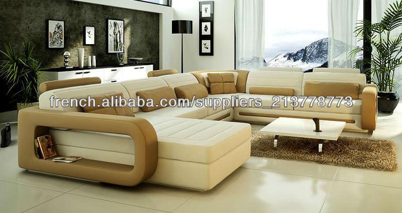2014 cuir de luxe suite salon a été faite de cadre en bois massif et éponge  à haute densité et cuir-Canapés, ensembles modulaires et causeuses-ID de ...