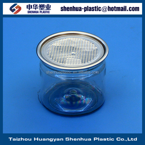 250g 8 oz round transparent PET can with lid 250ml plastic can