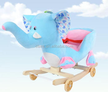 Children Kids Walking On Toys Wooden Elephant Rocking Chair