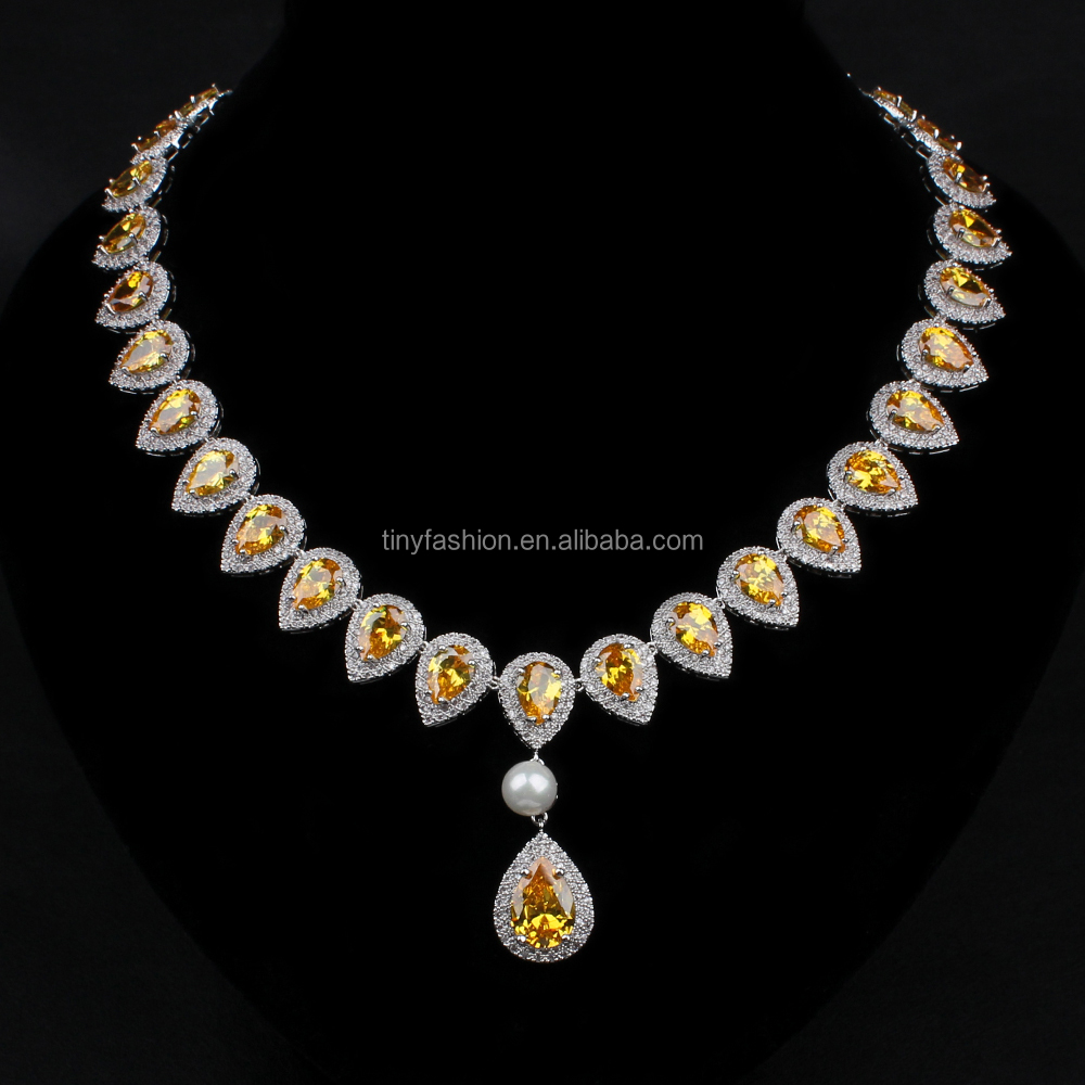 Newest Fashion Wedding Royal citrine Bridal Women topaz Jewelry Sets Copper AAA cubic zirconia wedding sets