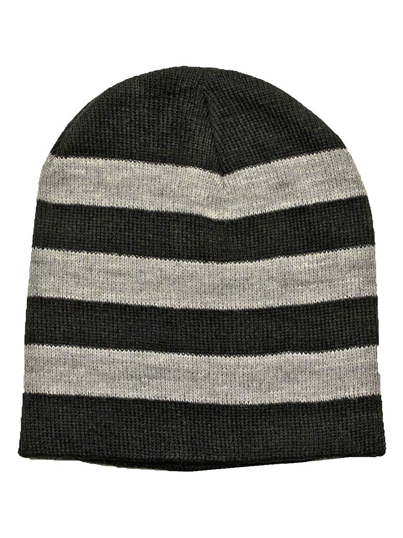 563b8f96ba8 Get Quotations · Luxury Divas Tight Fitting Striped Knit Beanie Cap