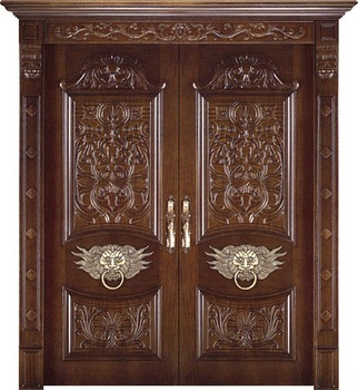 China Solid Wood Carving Front Door Double Design Door - Buy Front ...