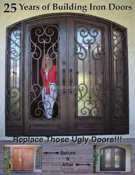 Arch Top Double Wrought Iron Entry Door