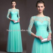 Europe ready made elegant long sleeve lace splice prom dress for fat women