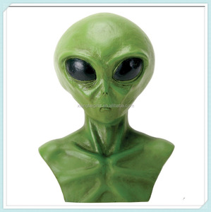 Bright Green Extraterrestrial Alien Head Bust Figurine Statue