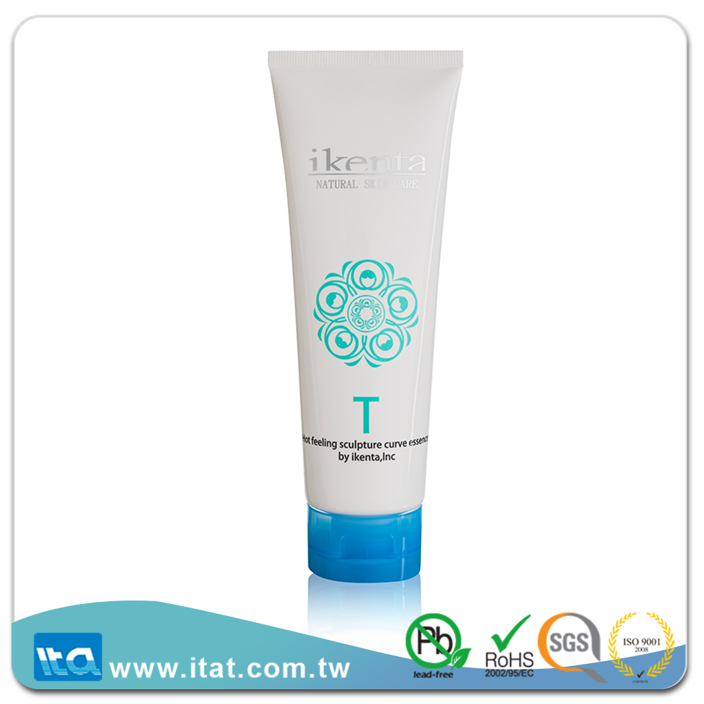 Round flexible laminated plastic packaging tube for body lotion cream