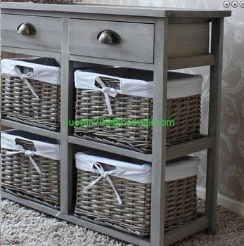 Vintage Grey Range - Two Drawer And Four Wicker Basket Storage Unit - Buy  Arts And Crafts Storage Units,Bedroom Storage Unit,Lockable Storage Units  ...