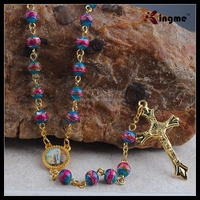 Wholesale Glass Beads Rosary Necklace with Gold Cross Pendant