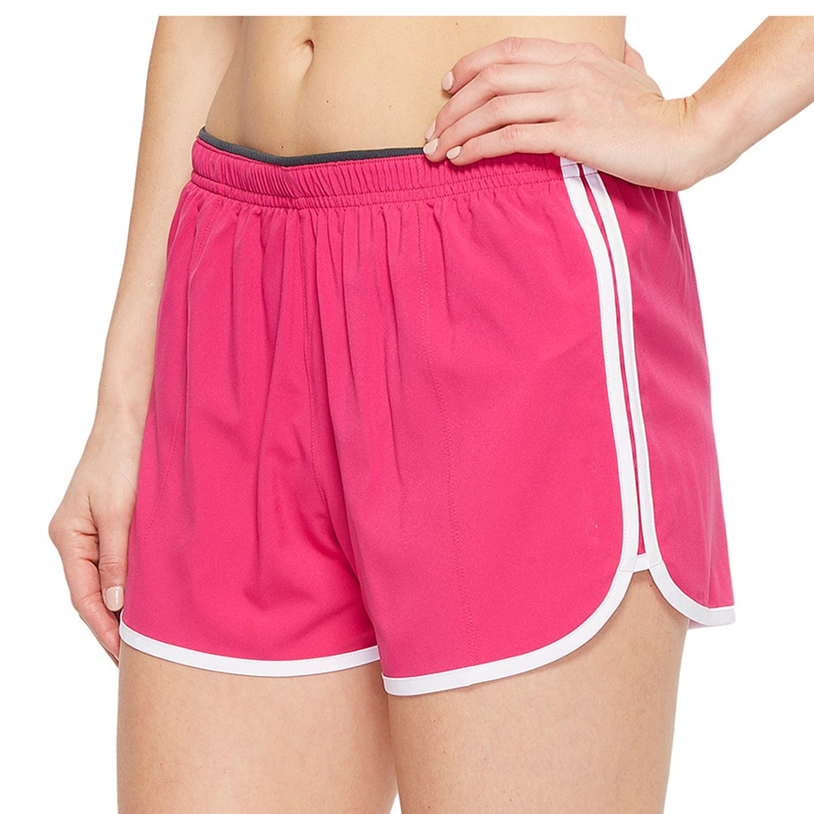 Elastic waistband interior drawstring notched leg openings short sports 100% polyester
