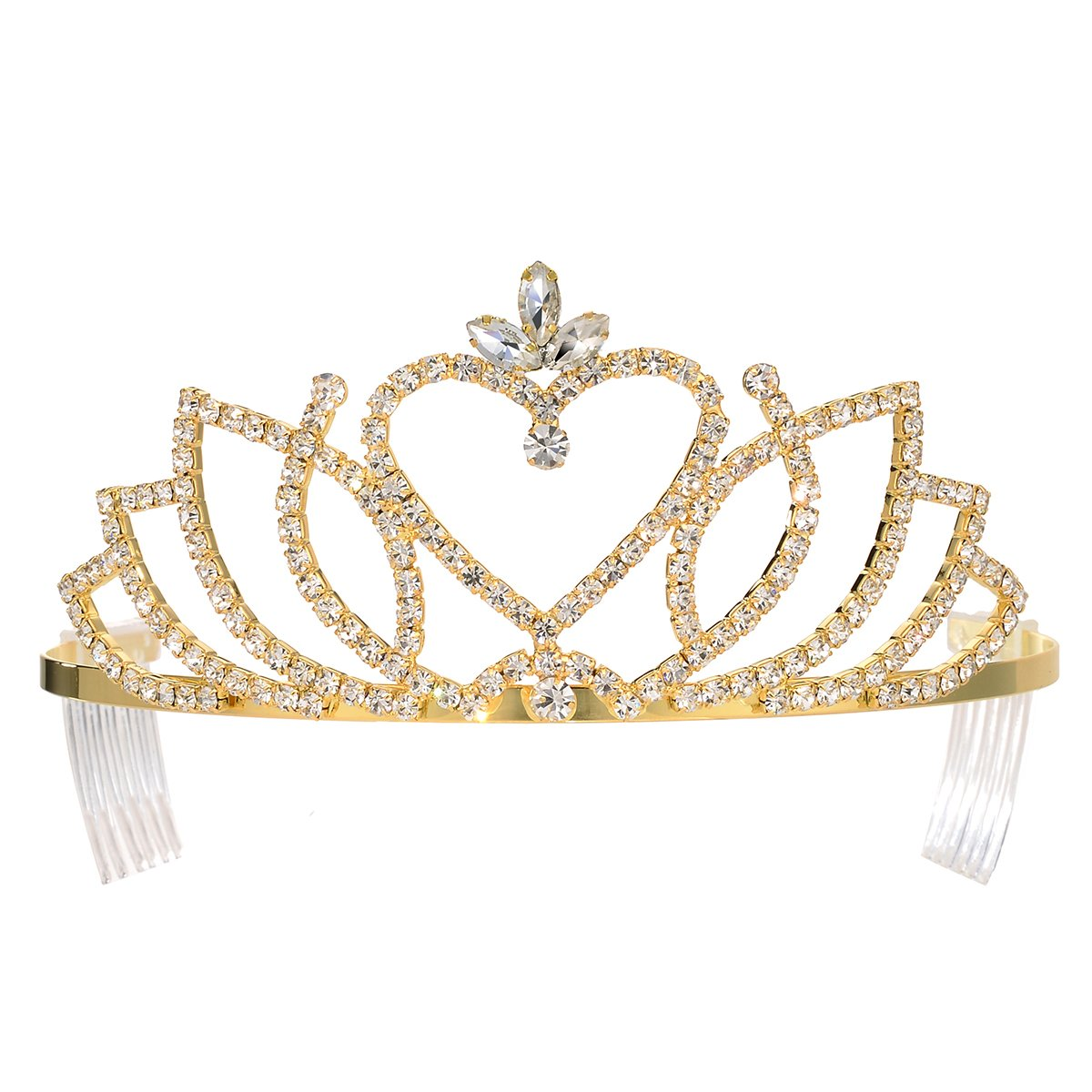 DcZeRong Gold Crown Princess Crown Gold Prom Crown Gold Queen Crowns Prom Tiaras Princess Tiaras