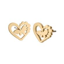Женские сережки-гвоздики Cxwind, сережки из нержавеющей стали с изображением четырех сердечек, золотистого цвета(Китай)
