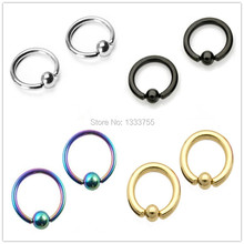 Free shipping new brand 1 Pair ball surgical Steel plated titanium colors piercing captive ring