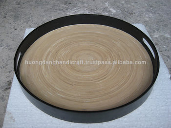 Black Tray Round Serving Bamboo With Handle
