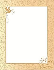 """Peace on Earth Gold Foil Christmas Letterhead, 8.5""""x11"""", 40/PK"""