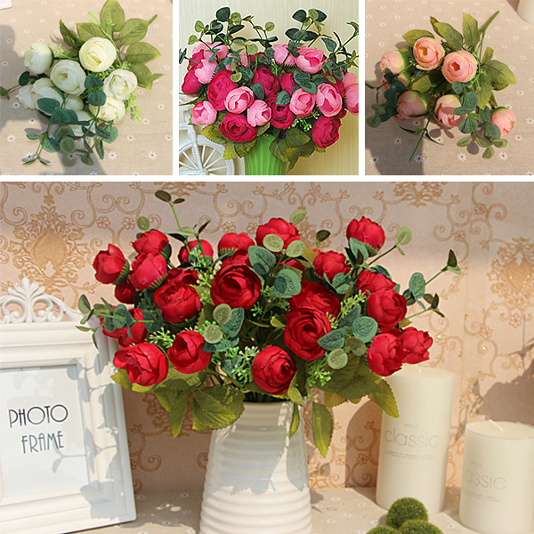 10 Heads Bouquet Artificial Silk Champagne Flower Table Spring Rose Hydrangea Wedding Home Decor Party
