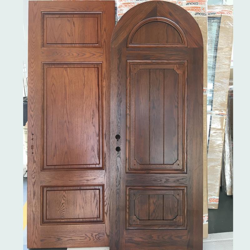 Europe church front door round top design wooden single main door design made of oak wood
