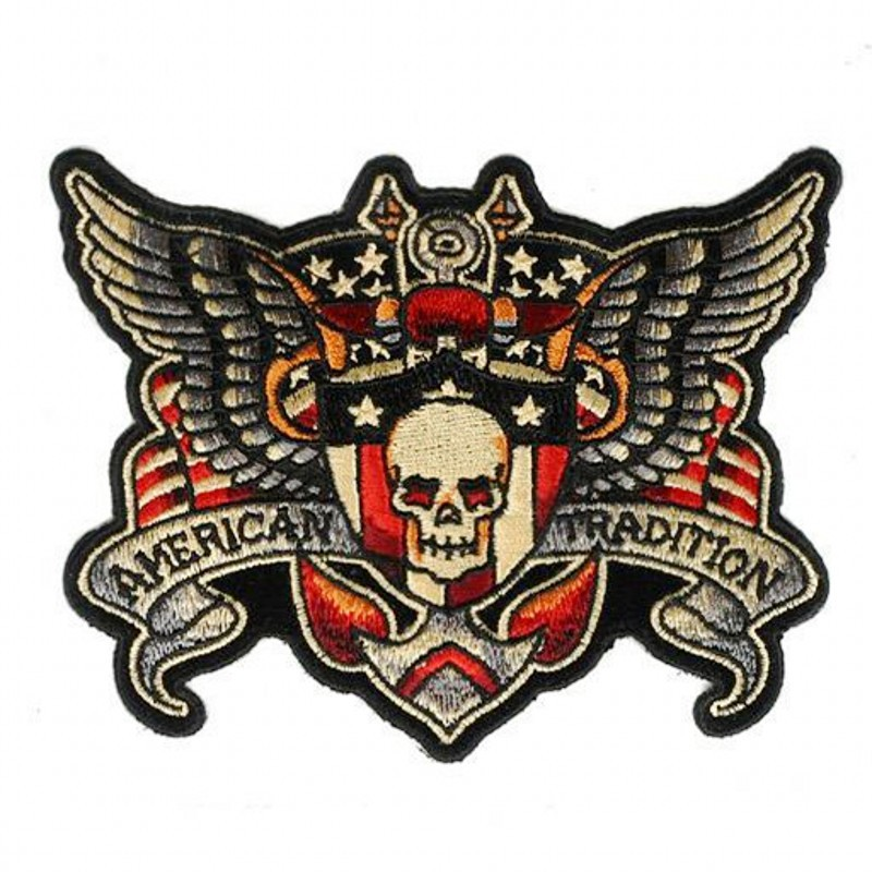Skeleton Wing MC Patch Handmade Embroidered Iron On Motorcycle Patches Applique Punisher Skull Cross Biker Patches For Clothes