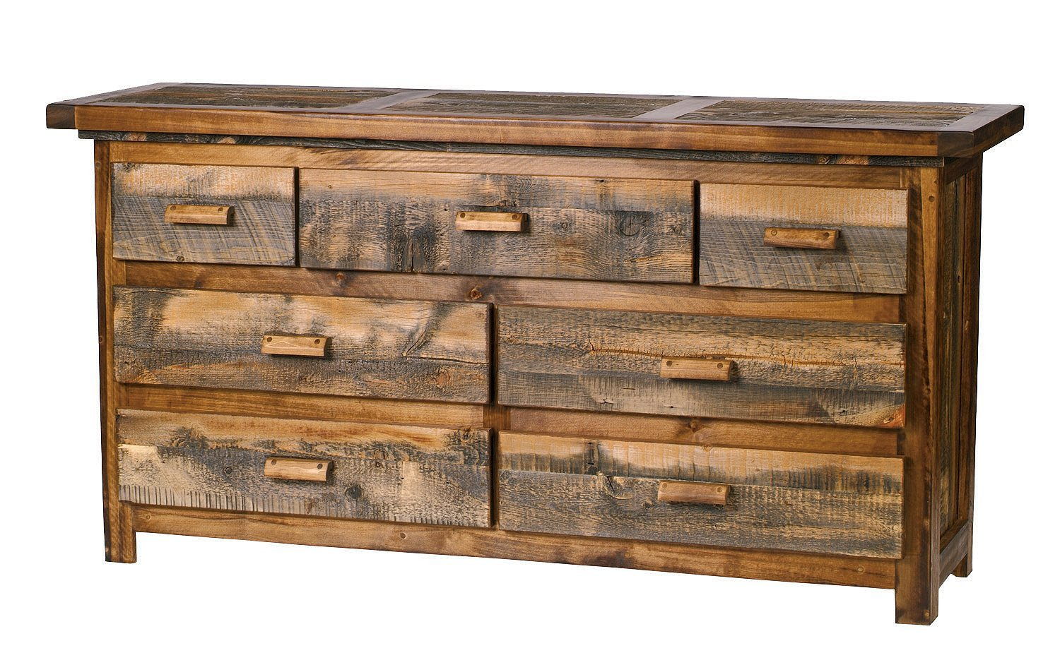 """Mountain Woods Furniture The Wyoming Collection 7 Drawer Dresser, Antler Pull, 72"""""""