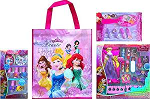 Disney Children's Cosmetic Gift Set Includes Disney Princess Tote Bag with Disney Princess 8 Pcs Royal Nail Art Collection, Disney Princess Cosmetic Set 13 Pcs and Disney Princess Accessory Set
