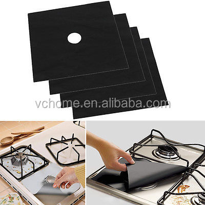 Hot 4Pcs Reusable Gas Range Protector Liner Non Stick Gas Hob Stovetop Cooker