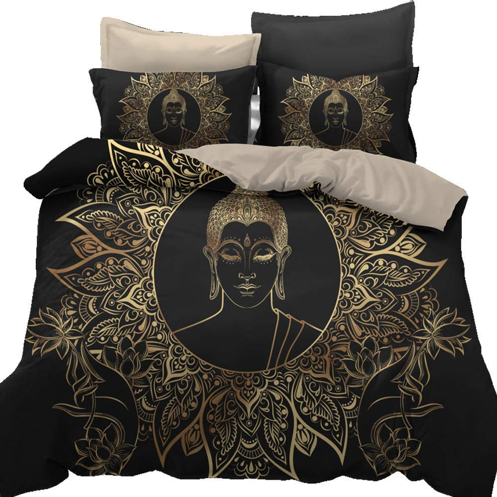 Buddha Face Over Ornate Mandala Round Esoteric Vintage Indian Buddhism Spiritual Hippie Tattoo Decorative Bedding Set AU Queen Size(1pc Duvet Cover+2pc Pillowcase) NO Comforter