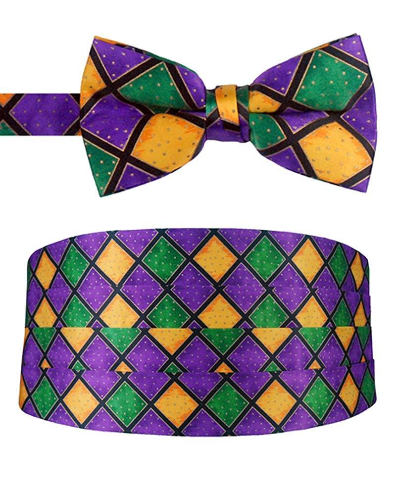 Mardi Gras Harlequin Cummerbund and Bow Tie Set