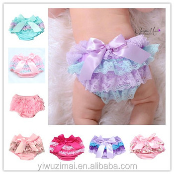 Wholesale baby infant ruffle lace bloomers boutique chiffon bloomers infant cotton shorts/bloomer