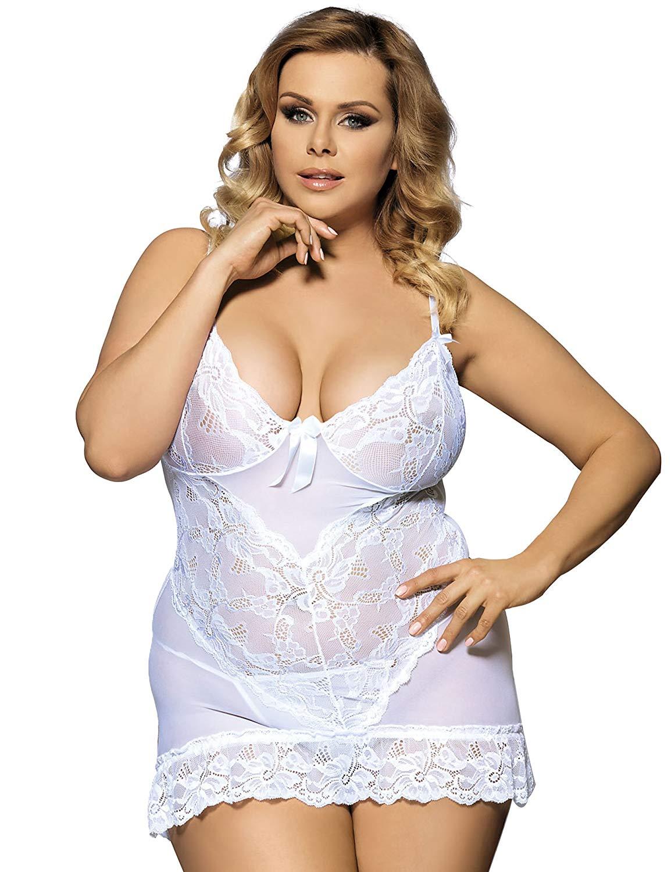 56b11efbd2 ohyeah Women See Through Babydoll Dress Lace Nightwear Plus Size Lingerie  With G String