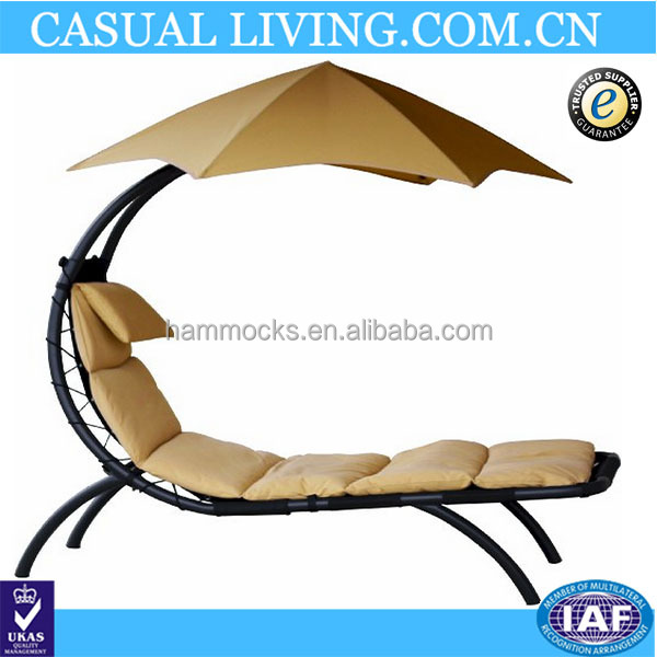 Chaise Lounger Hanging Chair Arc Stand Air Porch Swing Hammock Chair Canopy umbrella stand support included (beige)