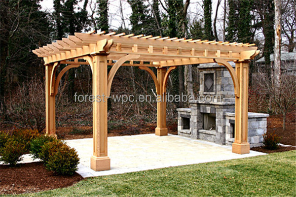 recycled backyard outside hollow composite wood decking wpc decking steel galvanized pergola