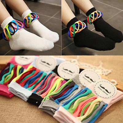 1Pairs Toddler Kids Girls Colorful Cotton Socks Knee High Hosiery Ankle Socks