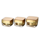 Cosmetic package 15g 30g 50g double wall square gold cosmetic acrylic jar with lid