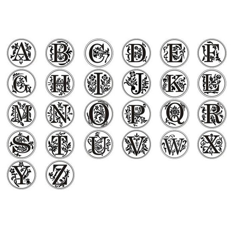 A LAAT Classic 26 A-Z Alphabet Letter Stamp Retro Seal Wax Stamp Assorted Color Wood Sealing Wax for Wedding Decoration